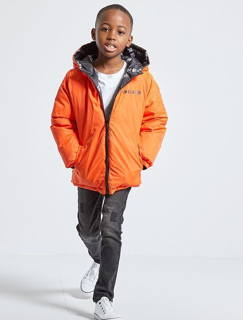 Doudoune à capuche réversible                                         noir/orange