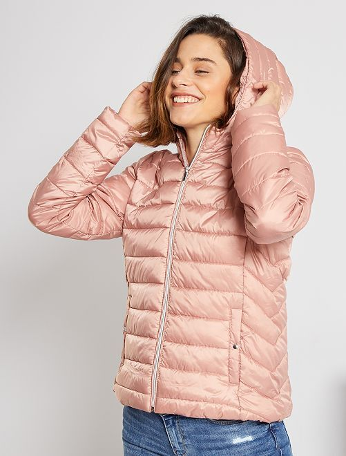Doudoune déperlante à capuche                                                                                                                 rose
