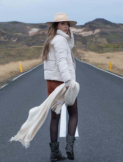 Doudoune en velours côtelé                             blanc