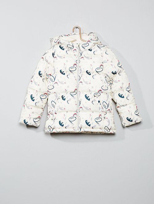 Doudoune imprimée à capuche                                                     blanc licorne