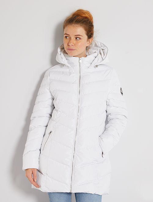 Doudoune longue à capuche                                         blanc