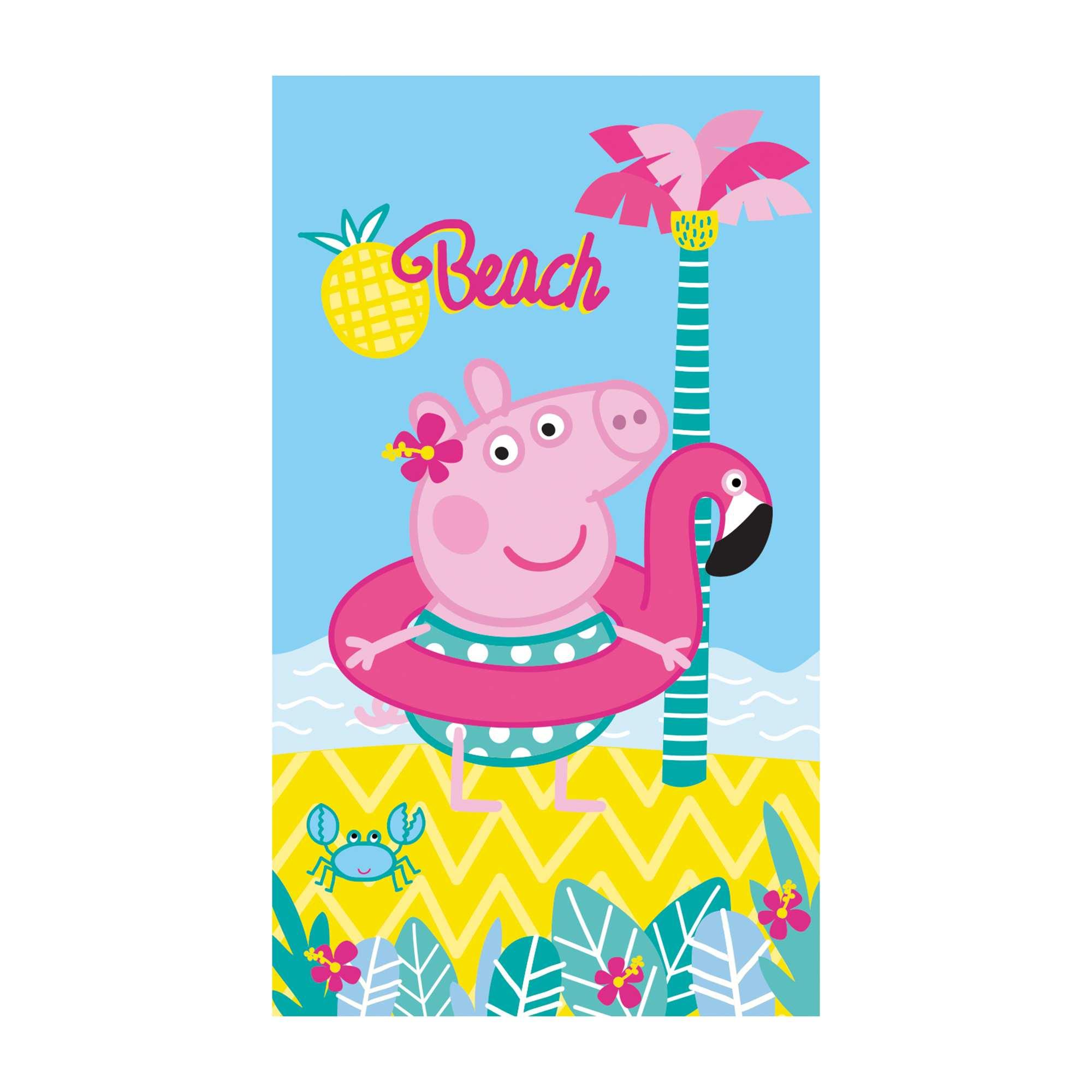drap de plage 39 peppa pig 39 fille rose bleu kiabi 13 00. Black Bedroom Furniture Sets. Home Design Ideas