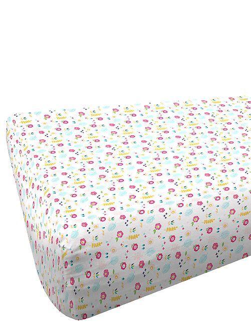 Drap-housse 1 personne imprimé                             rose Linge de lit