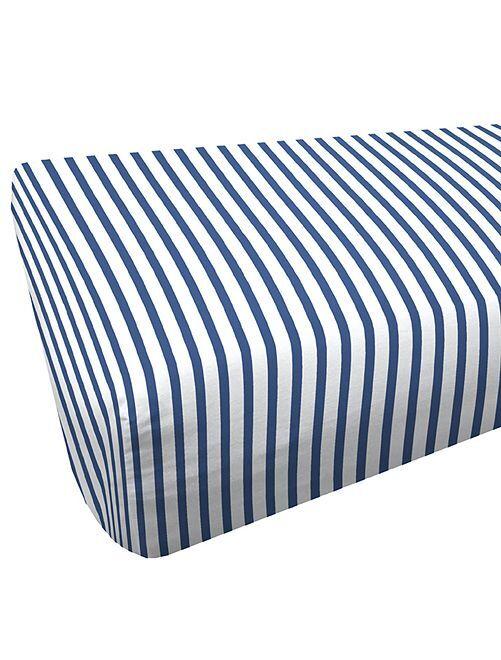 Drap housse 90 x 200 cm                             blanc/bleu