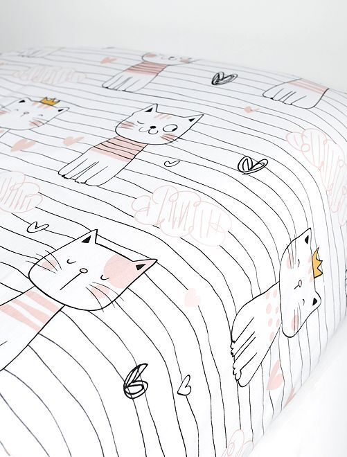 Drap housse imprimé                                                                                                                                                                 chat rose