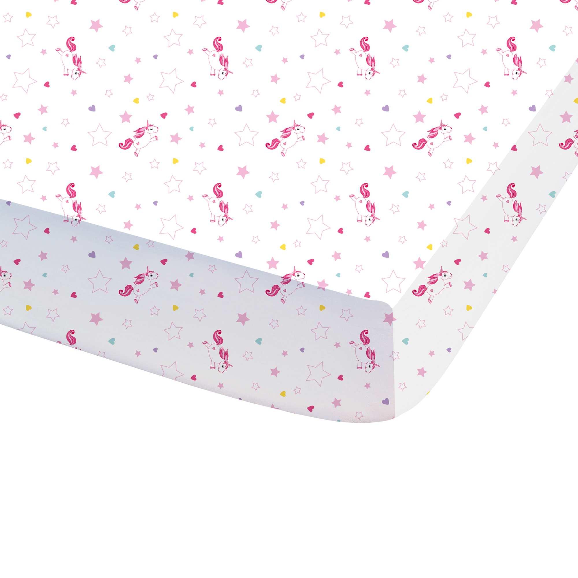 drap housse imprim 39 licorne 39 linge de lit blanc kiabi. Black Bedroom Furniture Sets. Home Design Ideas