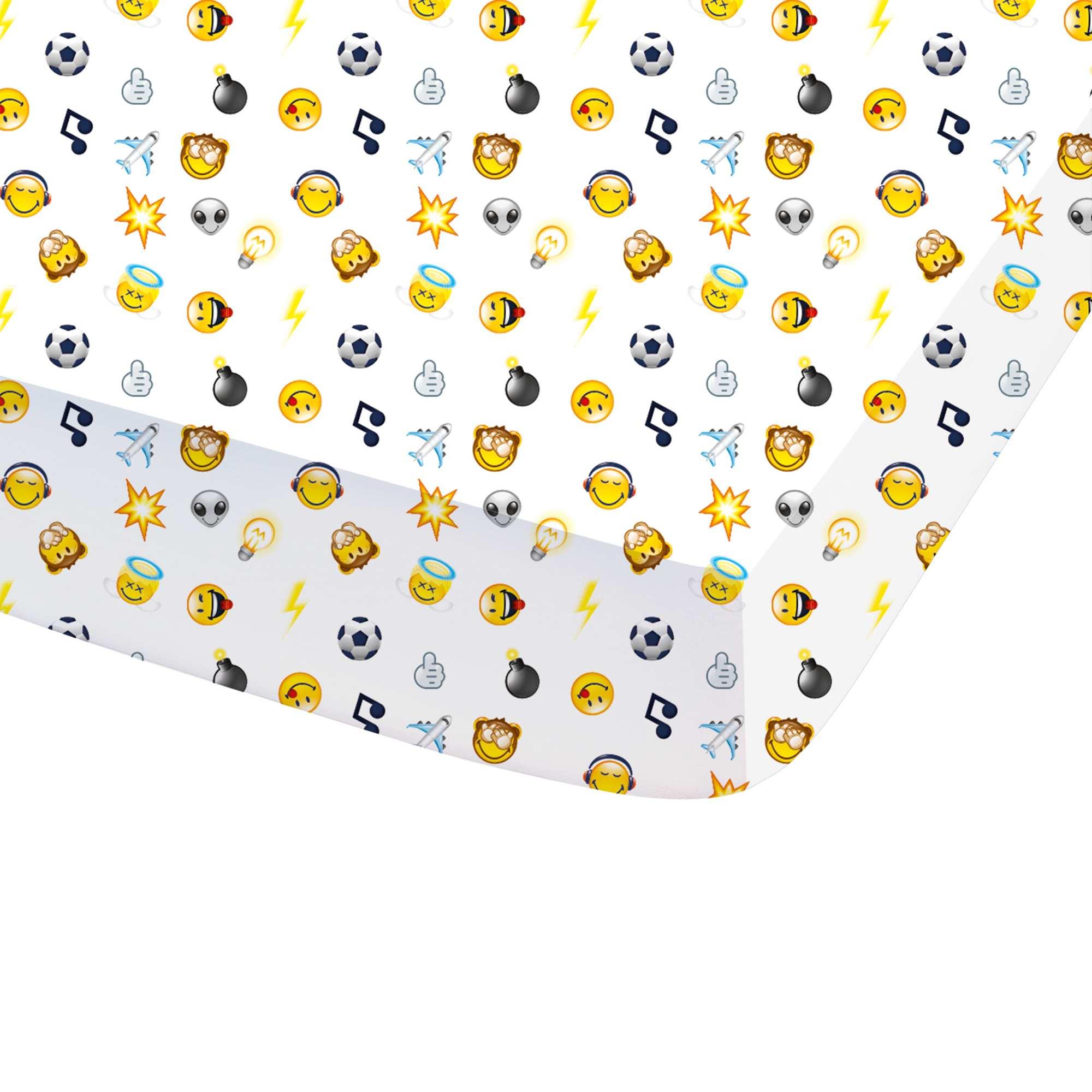Couleur : blanc, , ,, - Taille : 90x190, , ,,Retrouve tes emojis préférés sur ce drap-housse trop stylé ! - Drap-housse en pur