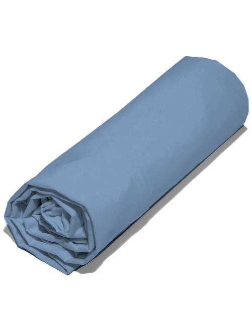 Drap housse uni 90 x 200 cm                                                                                         bleu gris