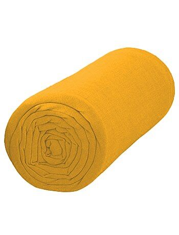 drap housse uni 90 x 200 linge de lit jaune moutarde kiabi 10 00. Black Bedroom Furniture Sets. Home Design Ideas