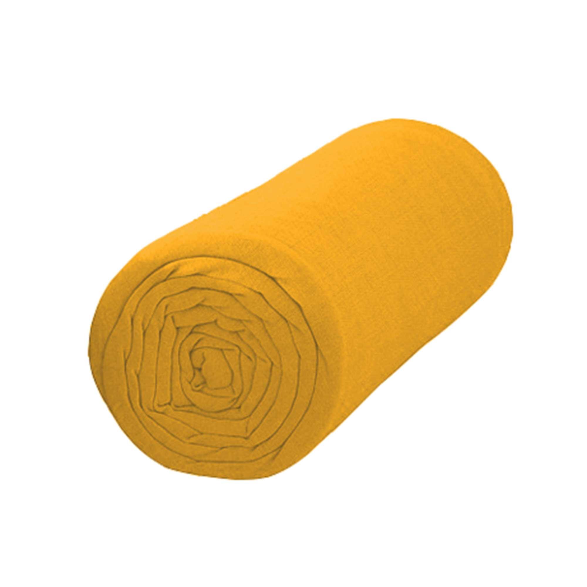 Drap housse uni 90 x 200 Linge de lit   jaune moutarde   Kiabi