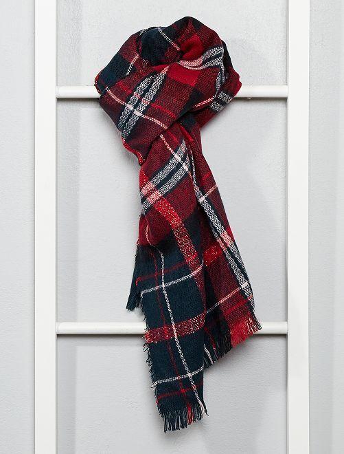 Écharpe à carreaux                                                     carreaux marine/rouge