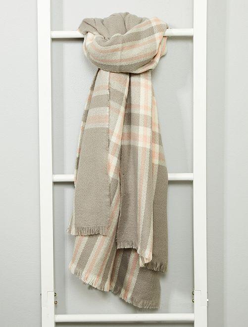 Écharpe à carreaux                                                                             gris/blanc/rose