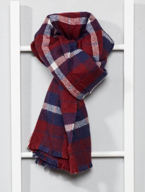 Écharpe à carreaux                                             rouge/bleu Femme