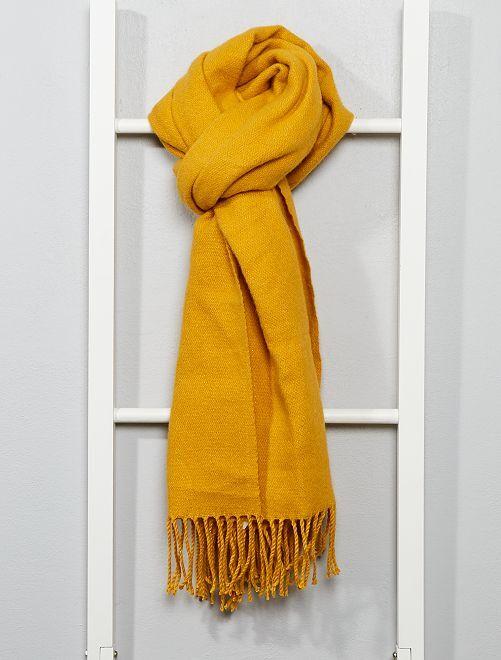 Écharpe chaude à franges                                         jaune