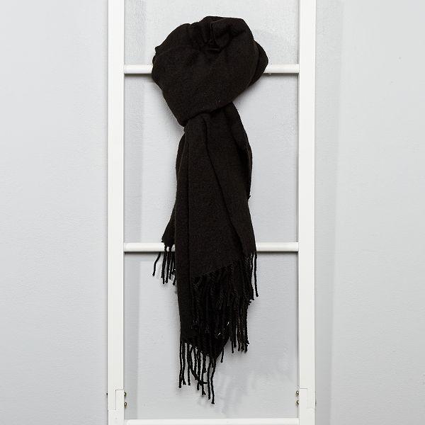 code promo chaussures pour pas cher meilleur Écharpe chaude à franges Femme - noir - Kiabi - 10,00€