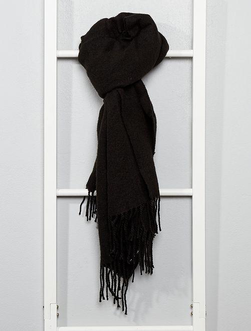 Écharpe chaude à franges                     noir