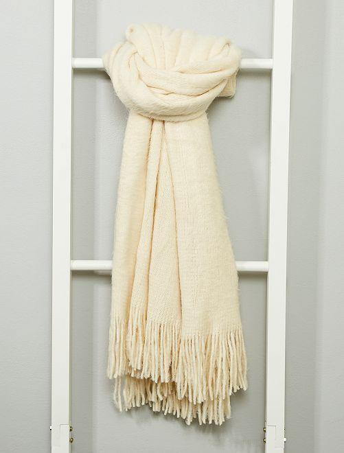 Écharpe douce avec franges                                                     blanc