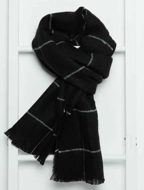 Écharpe en maille douce à rayures noir carreaux Femme