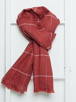 Echarpe, gants, bonnet - Écharpe en maille douce à carreaux - Kiabi