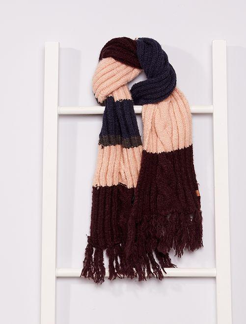 Écharpe en maille tricot                                         bordeaux/bleu/rose