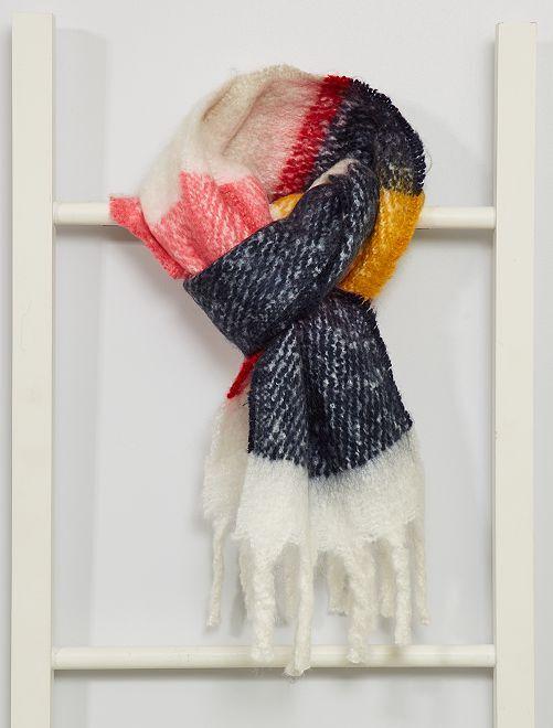 Echarpe fille color -block r à franges                             multicolore
