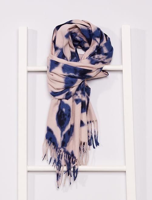 Écharpe large imprimé fleurs                             bleu/beige