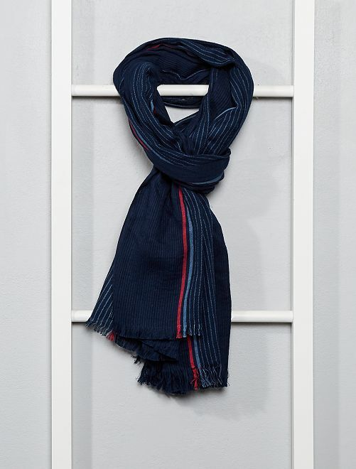 Écharpe rayée en coton tissé                                         bleu marine