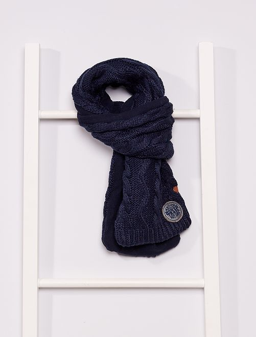 Écharpe tricot doublée polaire                                         marine