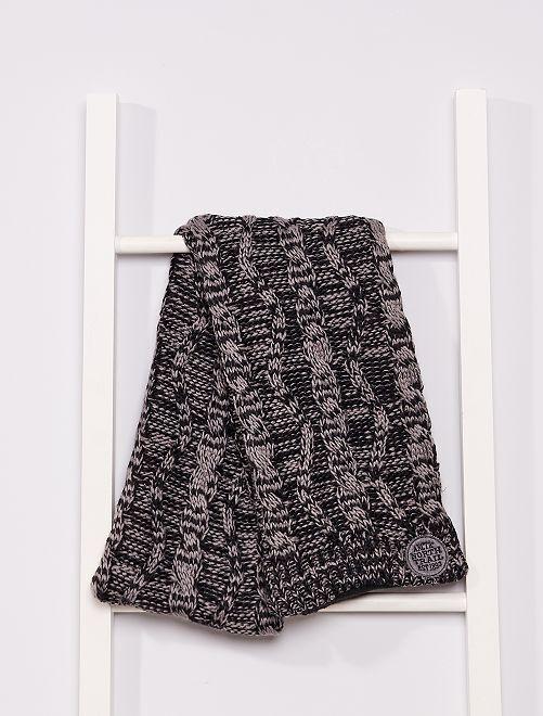 Écharpe tricot doublée polaire                                         noir/gris