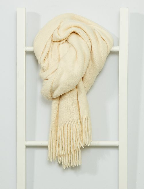 Écharpe unie à frange                                                                                                     beige