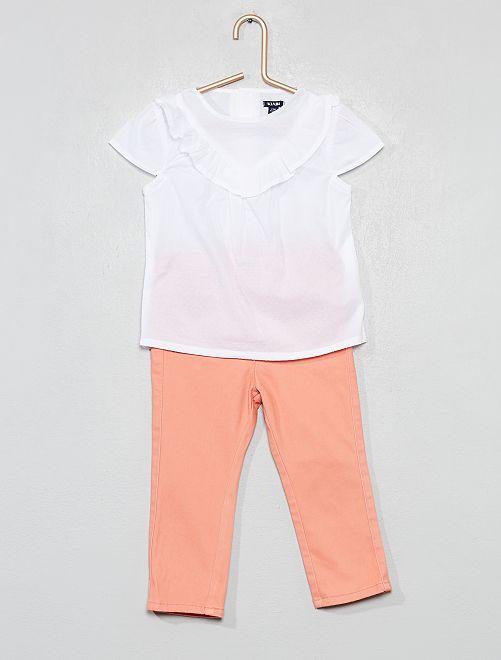 Ensemble 2 pièces pantalon et blouse                             rose/blanc Bébé fille