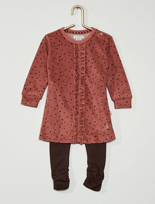 Ensemble 2 pièces robe + legging                             rose/gris
