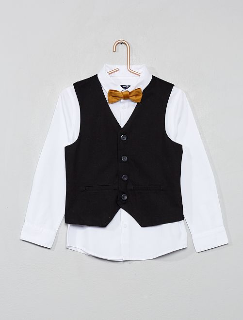 Ensemble 3 pièces chemise + gilet + nœud papillon                             blanc/noir