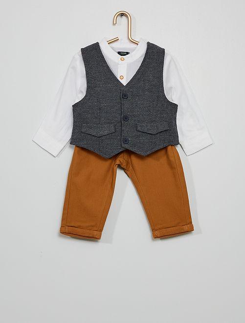 Ensemble 3 pièces chemise + pantalon + veston                             BLANC