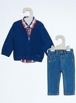 Garçon 0-36 mois Ensemble 3 pièces gilet + jean + chemise