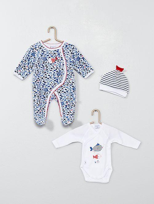 Ensemble 'Absorba' body + pyjama + bonnet                             bleu