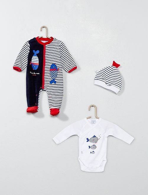 Ensemble 'Absorba' pyjama + body + bonnet                             bleu