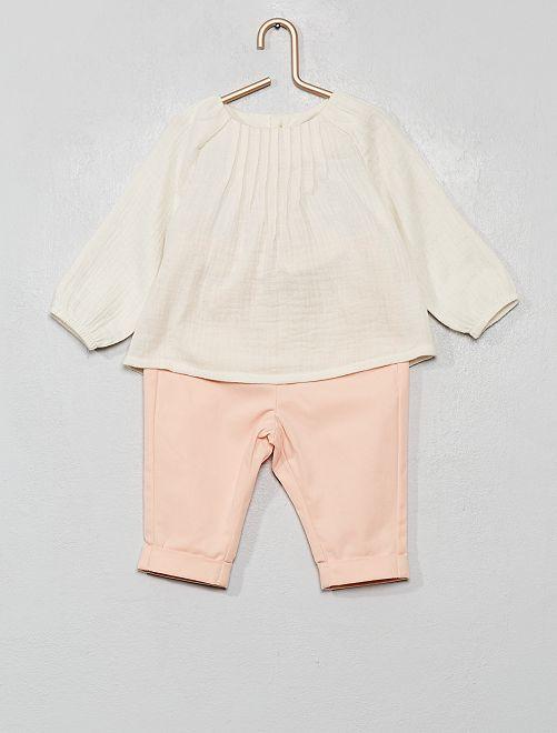 Ensemble blouse + pantalon                                         blanc/rose