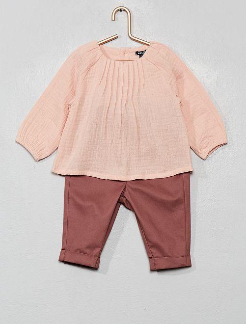 Ensemble blouse + pantalon                                         rose/taupe