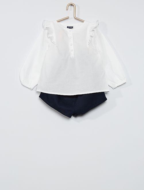 Ensemble blouse + short                             bleu/blanc