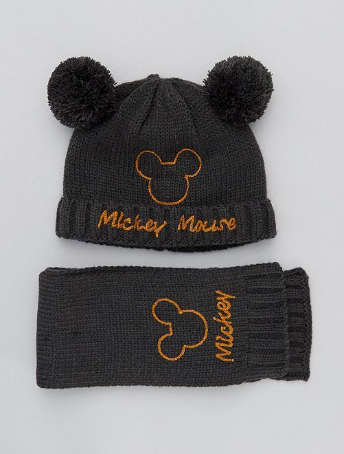 Ensemble bonnet + écharpe 'Mickey'                             gris foncé
