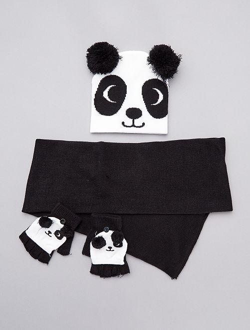 Ensemble bonnet + écharpe + mitaines 'animal'                                         noir/blanc