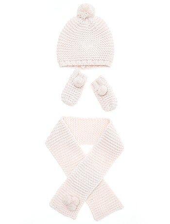 Ensemble bonnet + écharpe + moufle - Kiabi