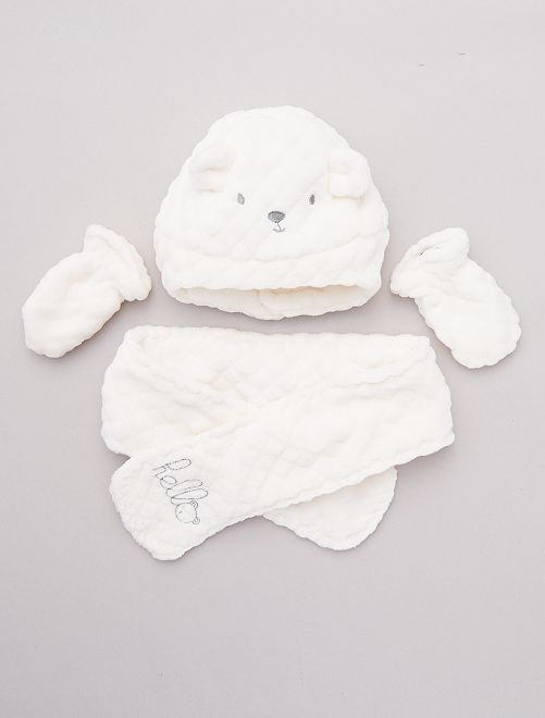 Ensemble bonnet + écharpe + moufles                                         blanc
