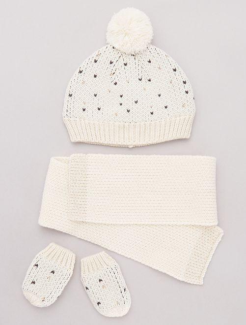 Ensemble bonnet + écharpe + moufles                                         écru