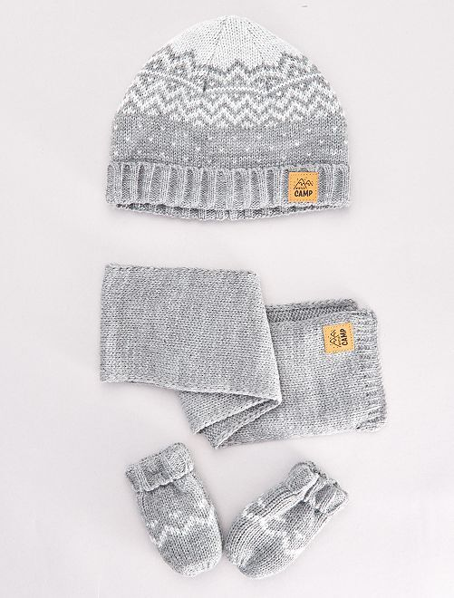 Ensemble bonnet +écharpe +moufles                             gris