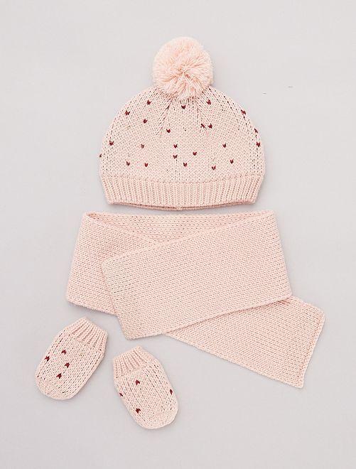 Ensemble bonnet + écharpe + moufles                                         rose