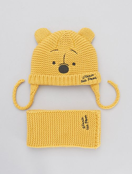 Ensemble bonnet + écharpe 'Winnie 'l'Ourson'                             jaune