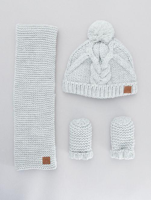 Ensemble bonnet + écharpes + moufles                                         gris