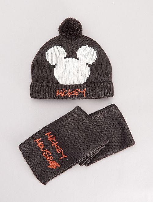 Ensemble bonnet et écharpe 'Mickey'                             gris foncé
